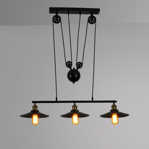 Industrial Retro Iron Mickey Pulley Ceiling Light Pendant Retractable Lamp  Cafe