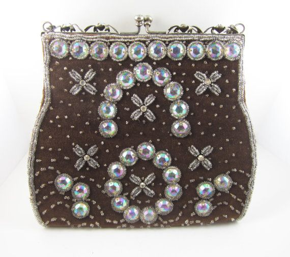 Vintage Beaded Rhinestone Purse Aurora Borealis Beads Evening Bag Pocketbook