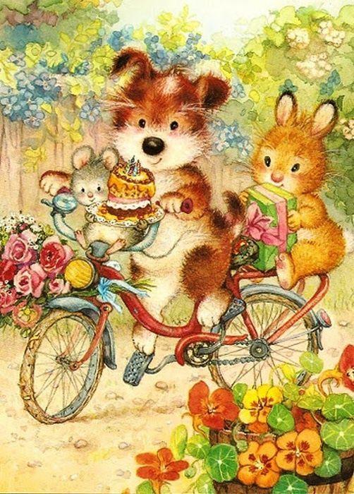 Happy Birthday Cute Animal IllustrationsVintage