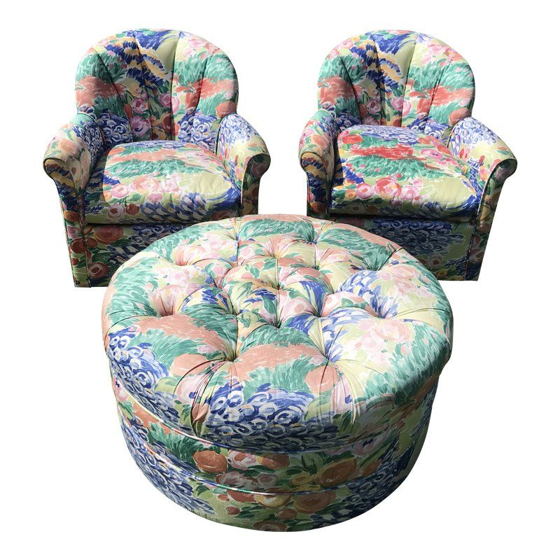 Fabulous 1990S Vintage Inspired Swivel Lounge Chairs Ottoman In Gmtry Best Dining Table And Chair Ideas Images Gmtryco