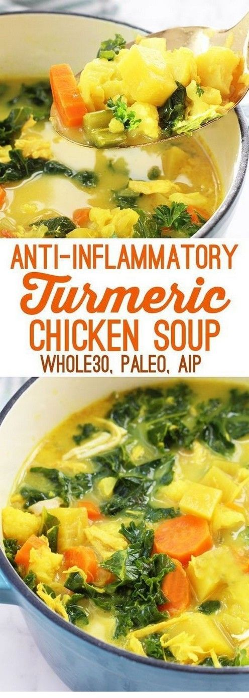 Detox Turmeric Chicken Soup (Paleo, Aip, Whole 30) | Tasty Food #healthycrockpotchickenrecipes