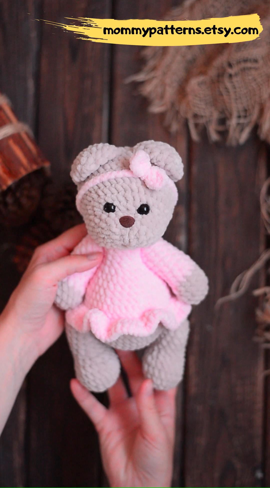 Photo of Easy crochet PATTERN Teddy bear in dress / Amigurumi pattern