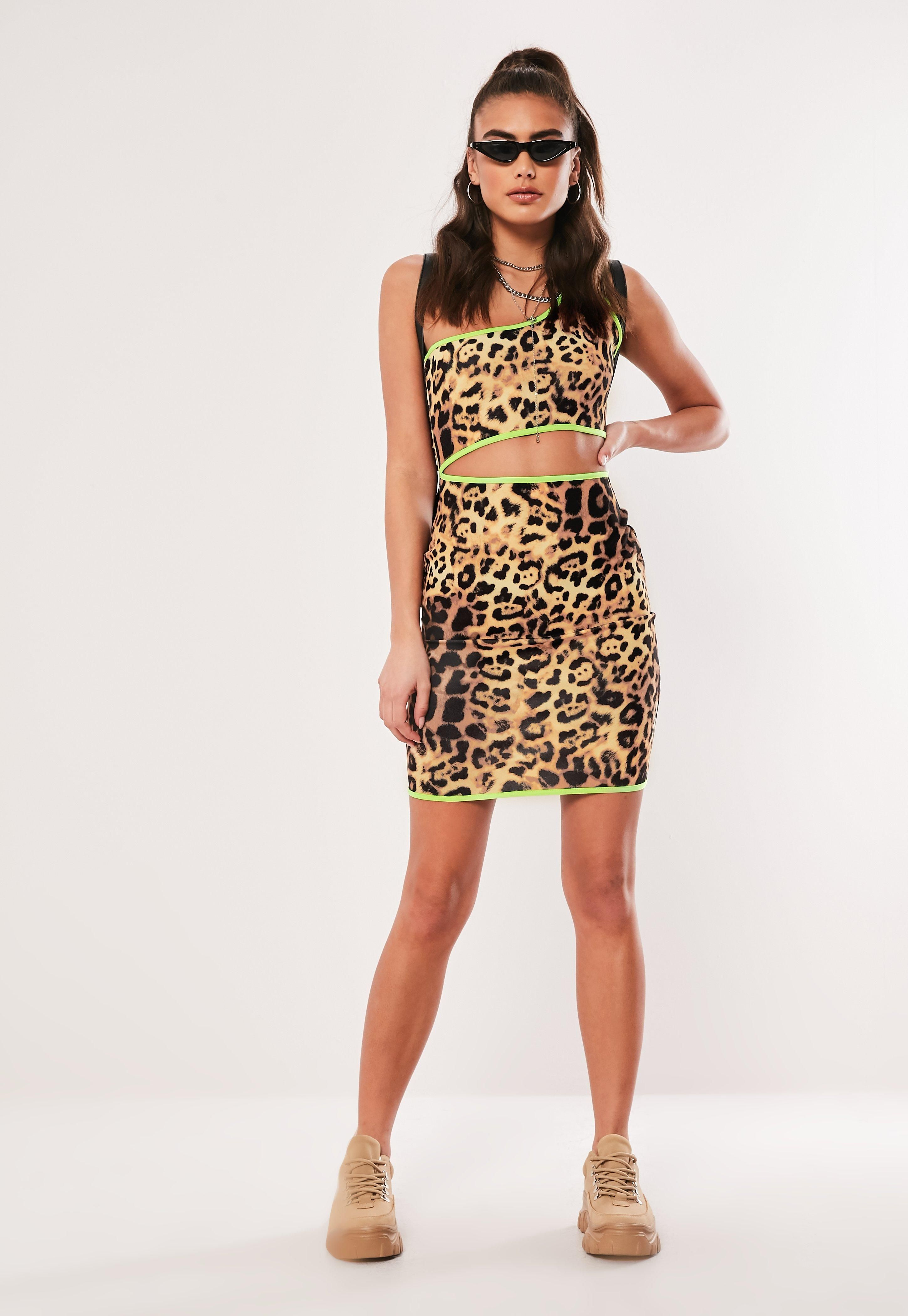 437ce0743516 Brown Leopard Print One Shoulder Mini Dress #Sponsored #Print, #AFFILIATE, # Leopard, #Brown