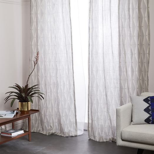 Sheer Cotton Geo Spike Curtains (Set Of 2)