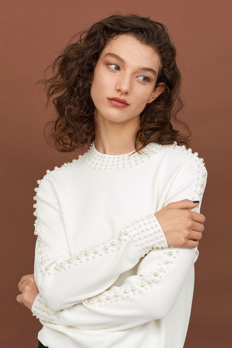 Trui met kralen Gebroken wit DAMES | H&M NL