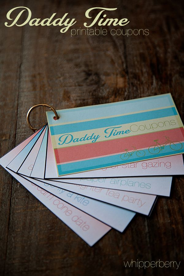 Give the gift of time with this simple yet meaningful Daddy Time free printable coupon book from http://whipperberry.com #fathersday #printable