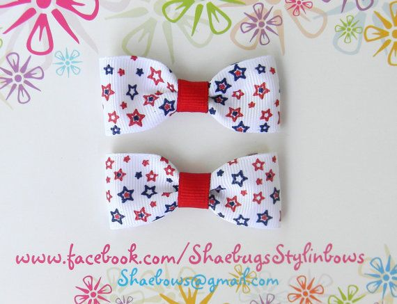 Military homecoming 4th of July bow tie hair clip by Shaebugs, $4.00