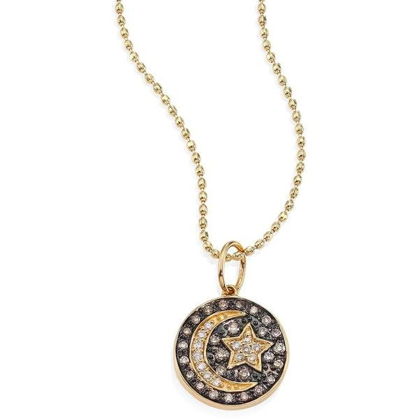Sydney Evan Women's Small Moon And Star Diamond & 14K Yellow Gold... ($840) ❤ liked on Polyvore featuring jewelry, necklaces, apparel & accessories, gold, champagne diamond necklace, yellow gold necklace, star necklace, yellow gold diamond necklace and gold medallion