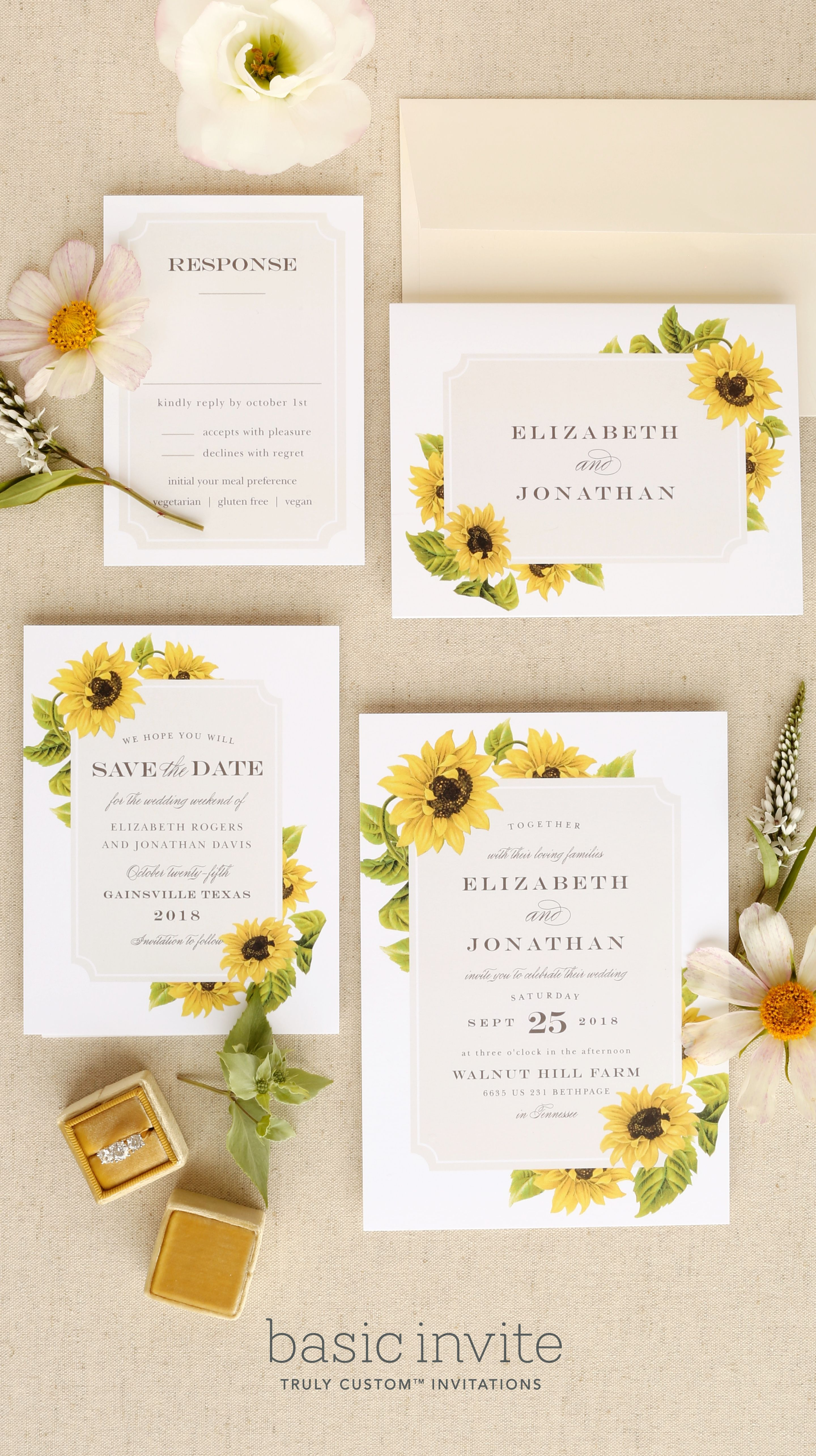 Bright And Cheerful Sunflowers Frame This Wedding Invitation Suite Pictured Sunflower Sunflower Wedding Invitations Wedding Invitations Rustic Wedding Frames