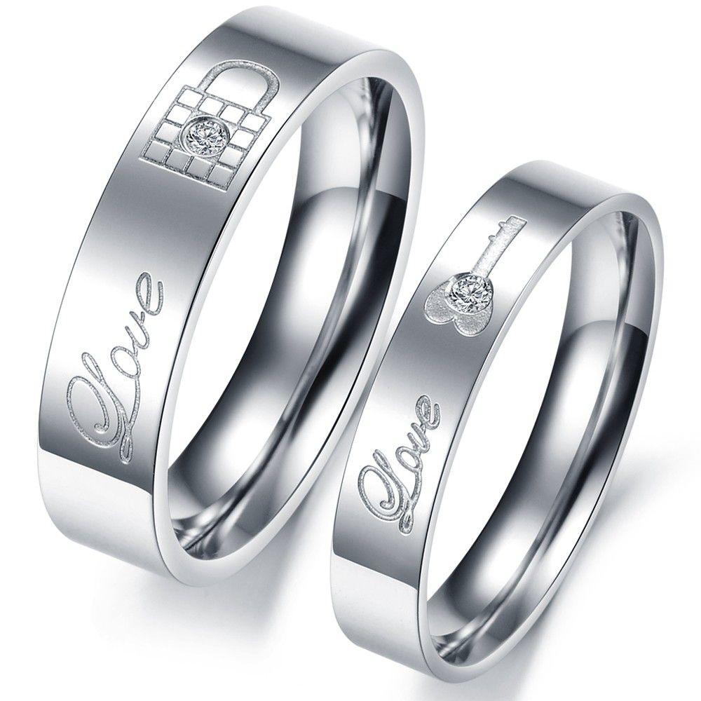 Cheap 1 unidades precio LOCK & KEY grabado anillos par de acero ...