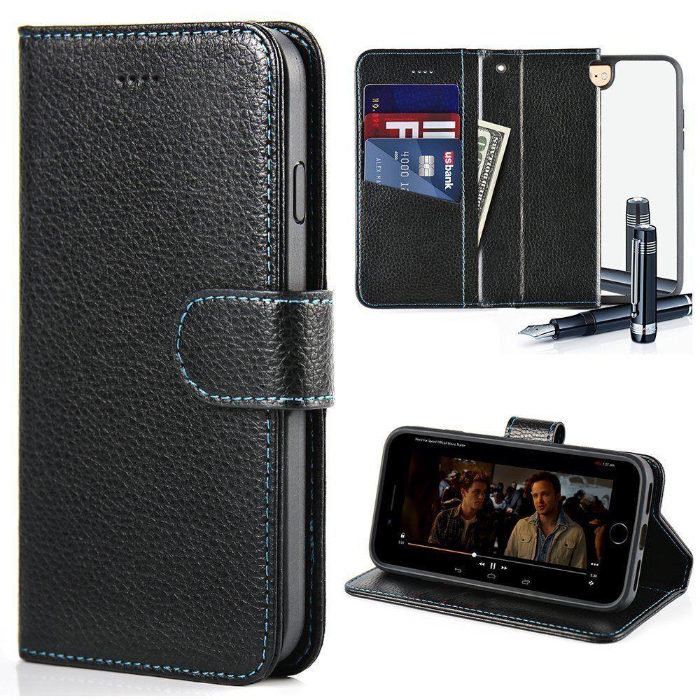 pretty nice 135b8 431cf iPhone 7 Wallet Case,ZVE Men Leather Flip Cover Kickstand,Mirror 4.7 ...