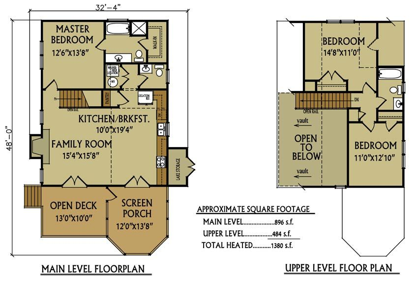 Small cabin floor plan 3 bedroom cabin by small lake for 2 bedroom lake house plans