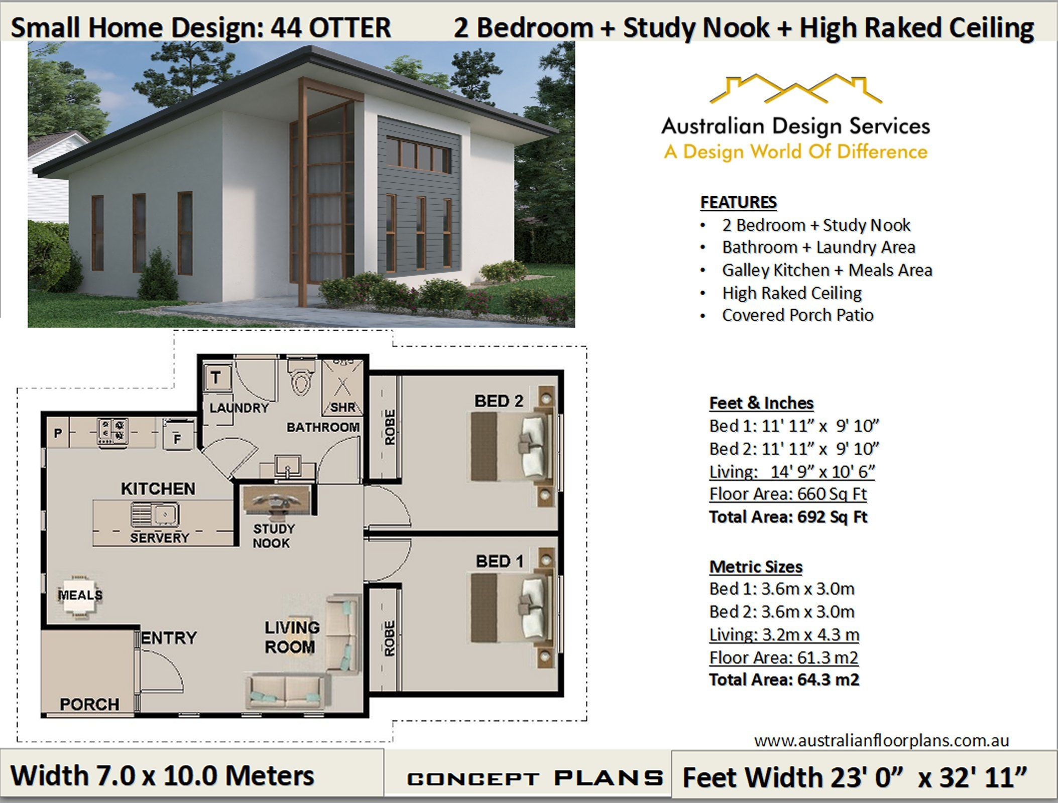61m2 660sq Foot 2 Bedroom Study House Plan 44 Otter Concept House Plans For Sale House Plans For Sale Small House Plans Craftsman House Plans