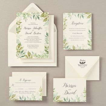 watercolor garden wedding invitation - marissa & david | paper, Wedding invitations