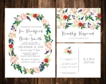 Watercolor Floral Wedding Invitations Tropical by papernpeonies