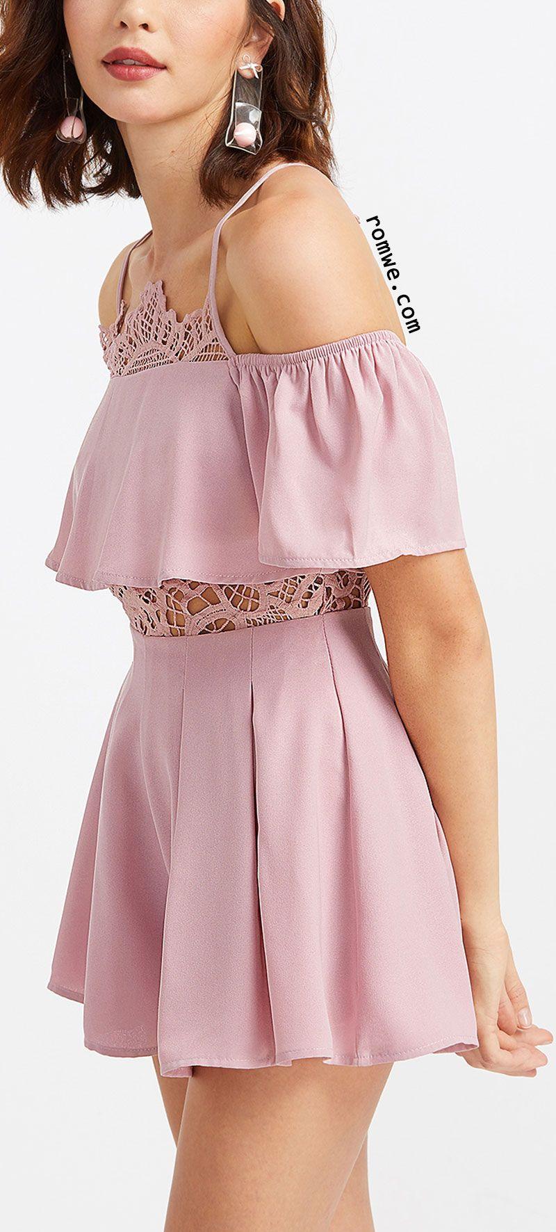 Pink Cold Shoulder Ruffle Jumpsuit | Want | Pinterest | Vestiditos ...