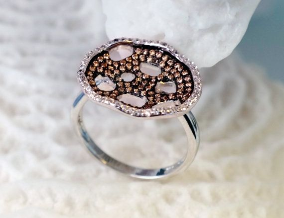 925 Sterling Silver Ring with CZ Crystals Sea Corals by LoveMirror