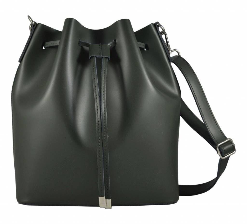 0497845c63b Leder handtas Baguette groen kleur uit Italië Marina | Leren dames ...
