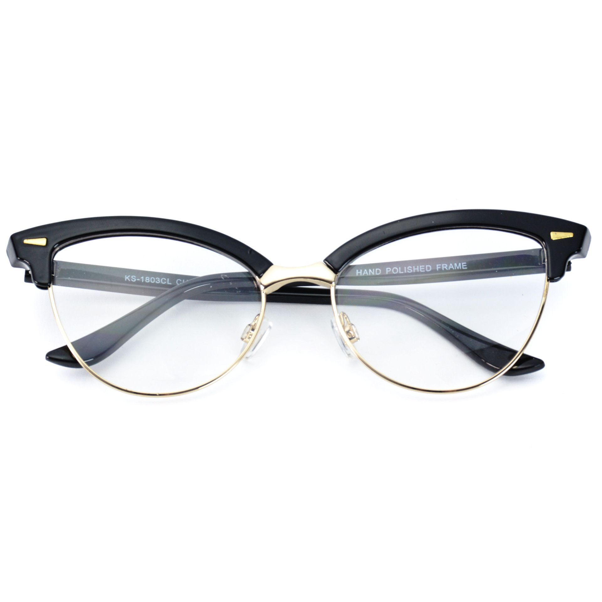 6e517cd7db791 Elodie Metal Semi Rimless Cat Eye Fashion Glasses