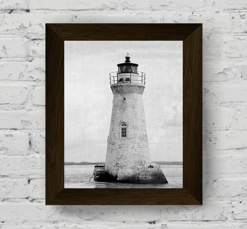 Lighthouse print coastal wall art black and white photo nautical poster beach