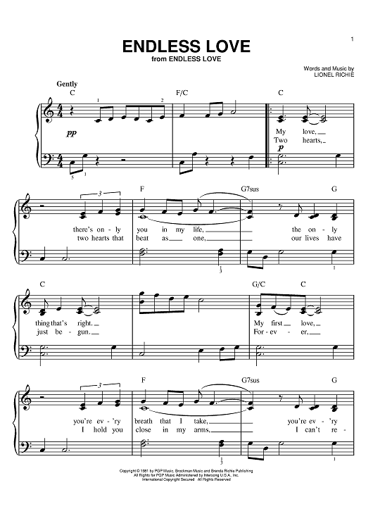 Endless Love Sheet Music By Lionel Richie Sheet Music Pianos And
