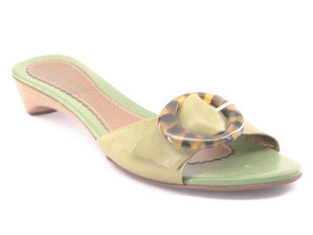 New Naturalizer Women Leather Kitten Heel Slide Sandal Mule Flip Flop Shoe Sz 8 Sepatu