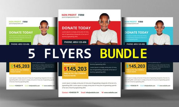 5 Charity Donation Flyers Bundle by Business Templates on