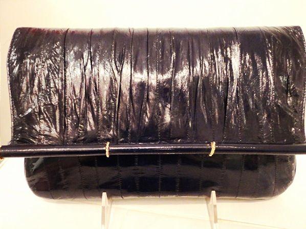 Eel skin dark navy #vintage purse with strap $105
