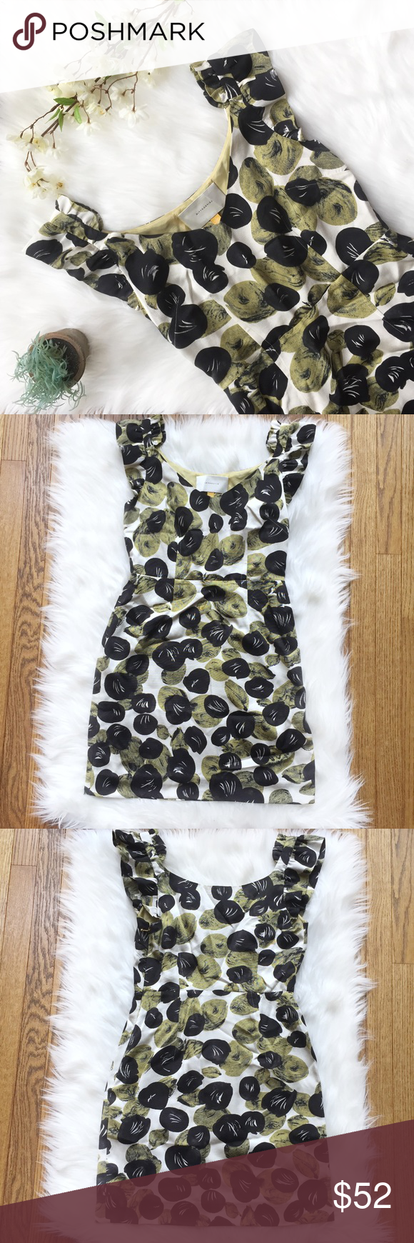 Anthropologie Leifsdottir Silk Blend Leaf Dress Pattern White Dress Lace Trim Skirts Clothes Design