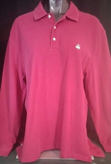 Brooks Brothers Polo Shirt 346 Mens Long Sleeve Brick Red Gold Sheep