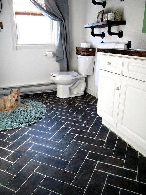 21 Classy Vinyl Bathroom Tile Ideas Interiordesignshome Com Herringbone Floor Using Peel A Vinyl Tile Flooring Luxury Vinyl Tile Flooring Bathroom Tile Designs
