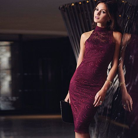 Lipsy Michelle Keegan loves Lipsy wine lace halter neck dress- at ...