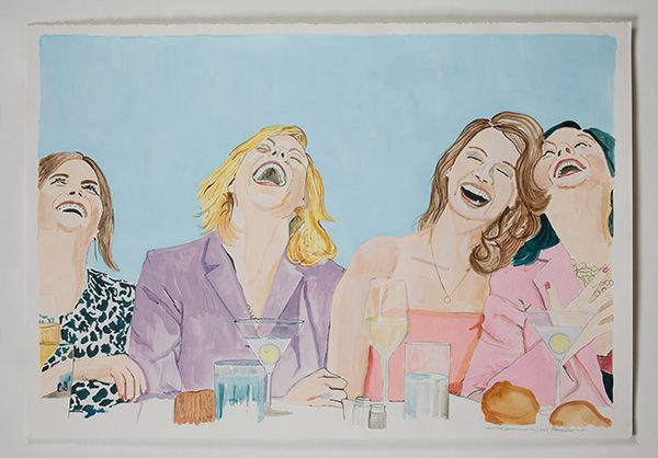 Rory Devine, Untitled (women laughing I), 2013. Acrylic on paper