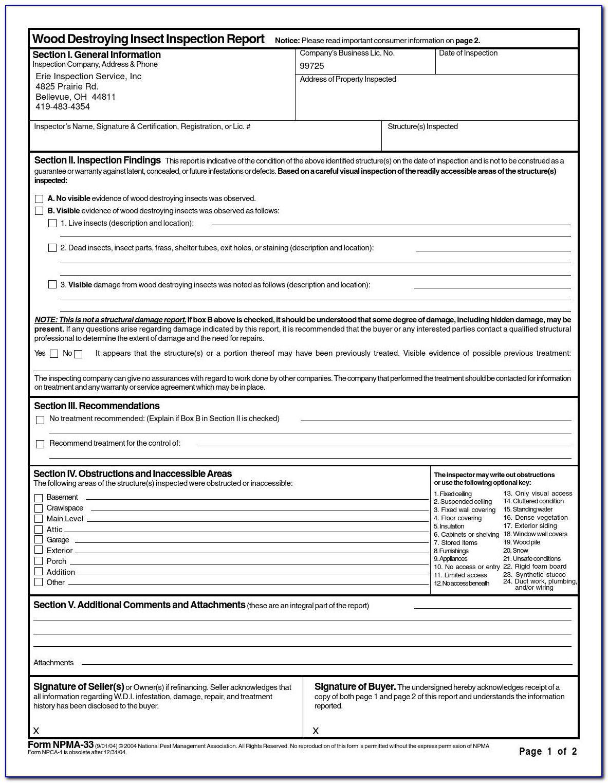 Pest Control Inspection Report Format Form Resume Regarding