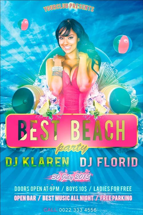 Best Beach Party Free Flyer PSD Templateu2026 Meus Pinterest Psd - pool party flyer template