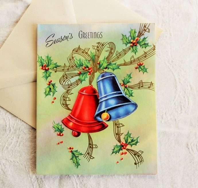 Original 50s Jingle Bells Christmas Card Unused / Its A