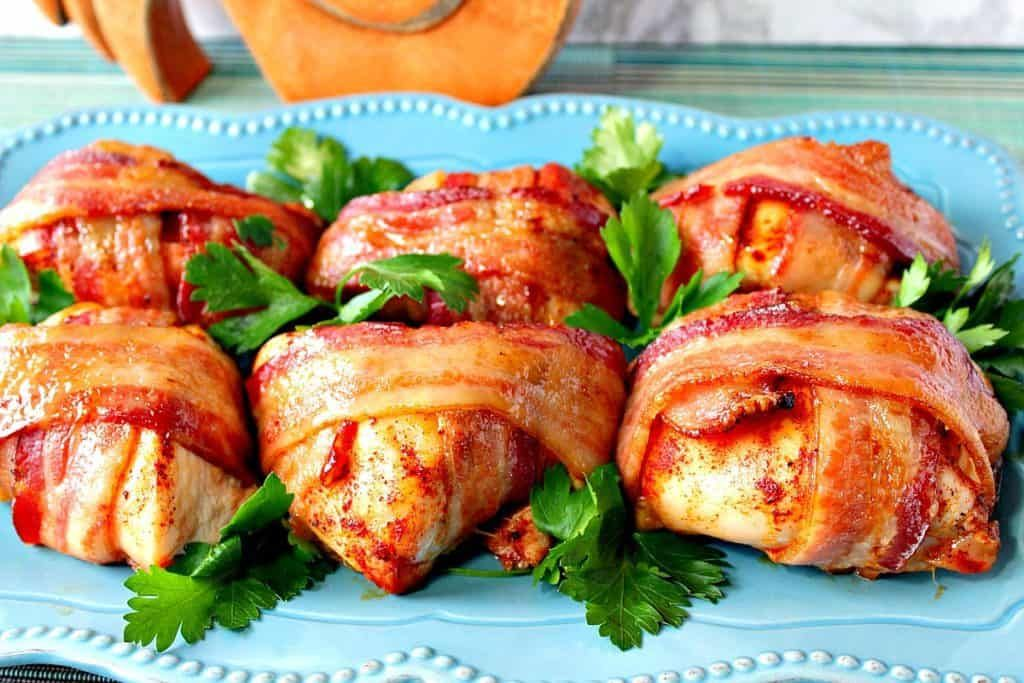 Smoky-Sweet Bacon Wrapped Chicken Breast #baconwrappedsmokies