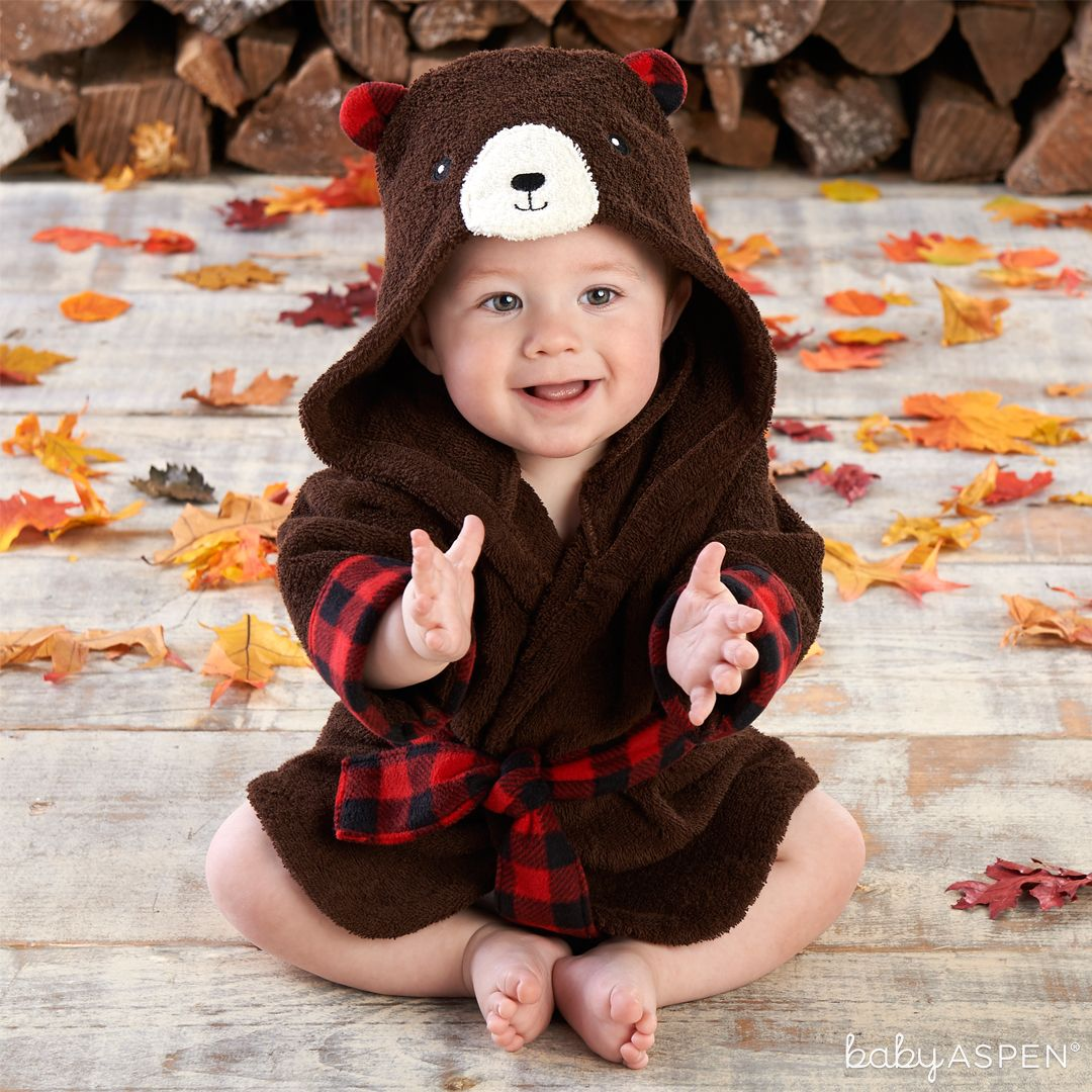 Blog Post: 5 Cute Happy Camper Looks for a Baby Boy   Beary Bundled Brown and Red Hooded Robe