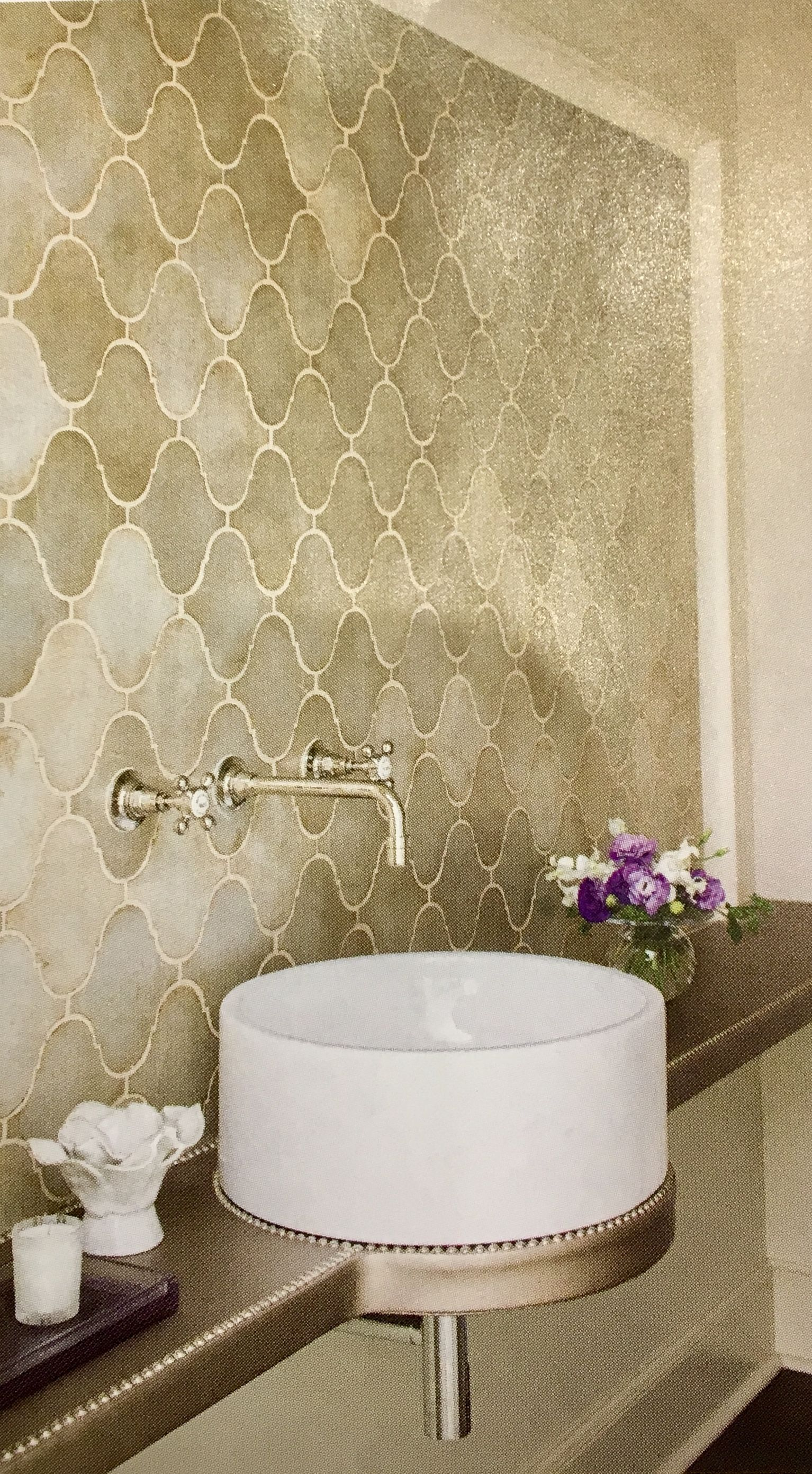 - Beautiful Powder Room With Textured Vanity And Beautiful Tile