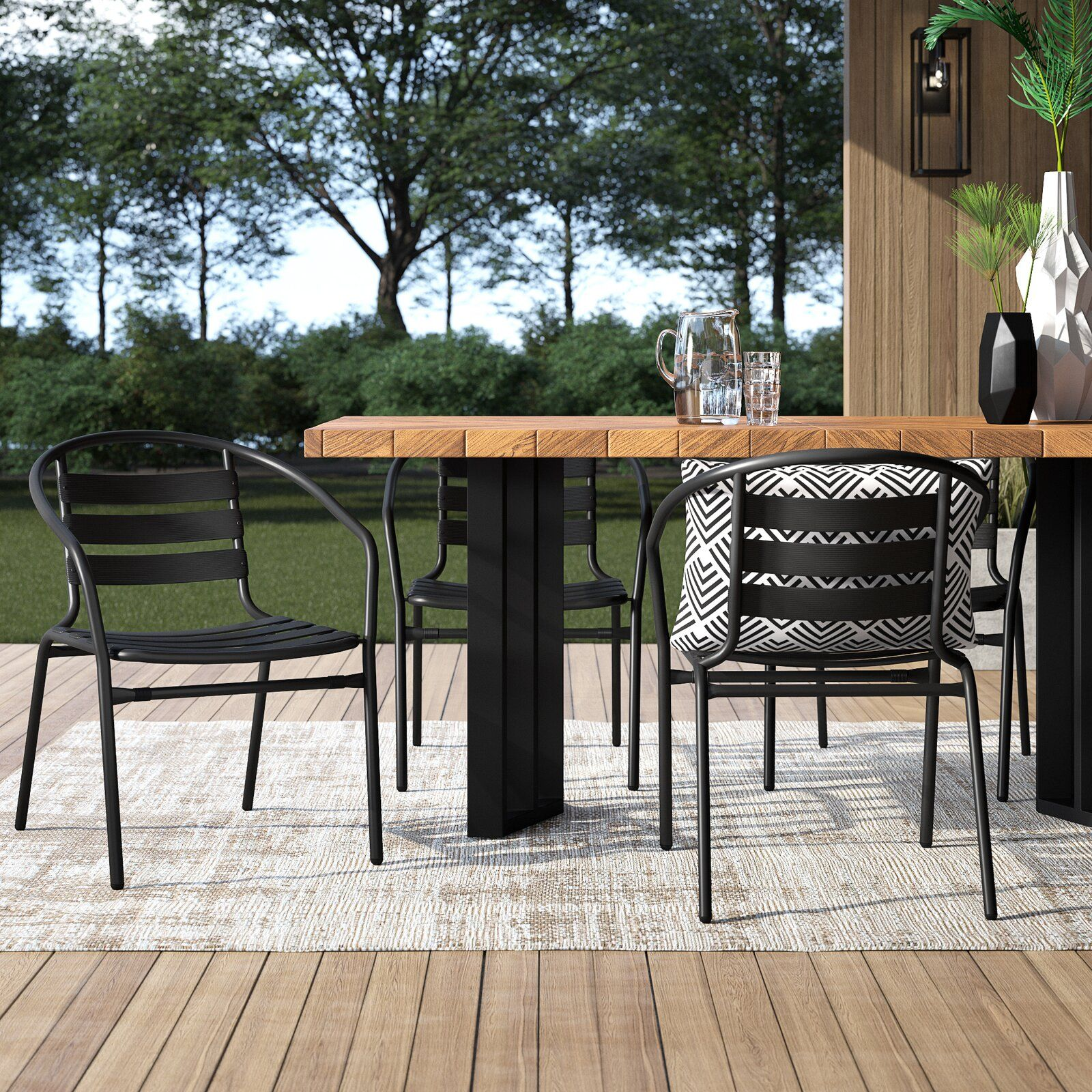 Corrales Stacking Patio Dining Chair in 8  Patio dining chairs