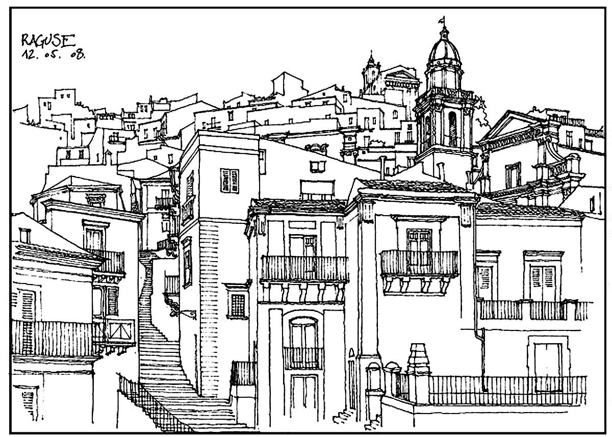 Coloring pages for adults landscapes - Architecture And Living Coloring Pages For Adults Coloring Architecture Village In France