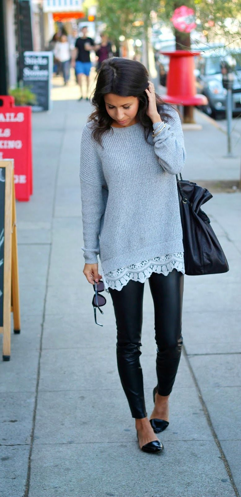 perfect fall pairing: oversized sweater x leather pants ...