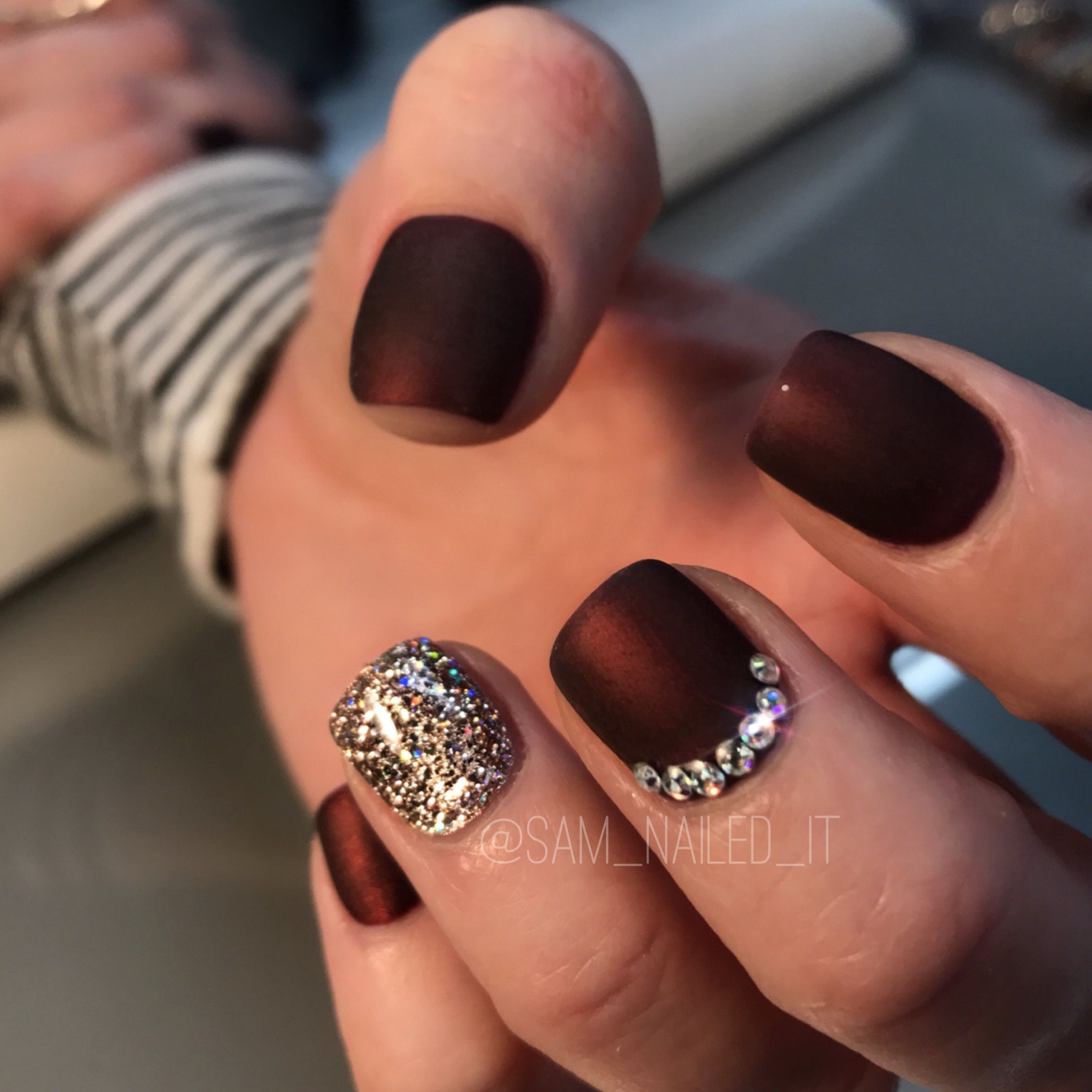 Maroon nails Matte nails Glitter nails Short nails Rhinestone nails ...
