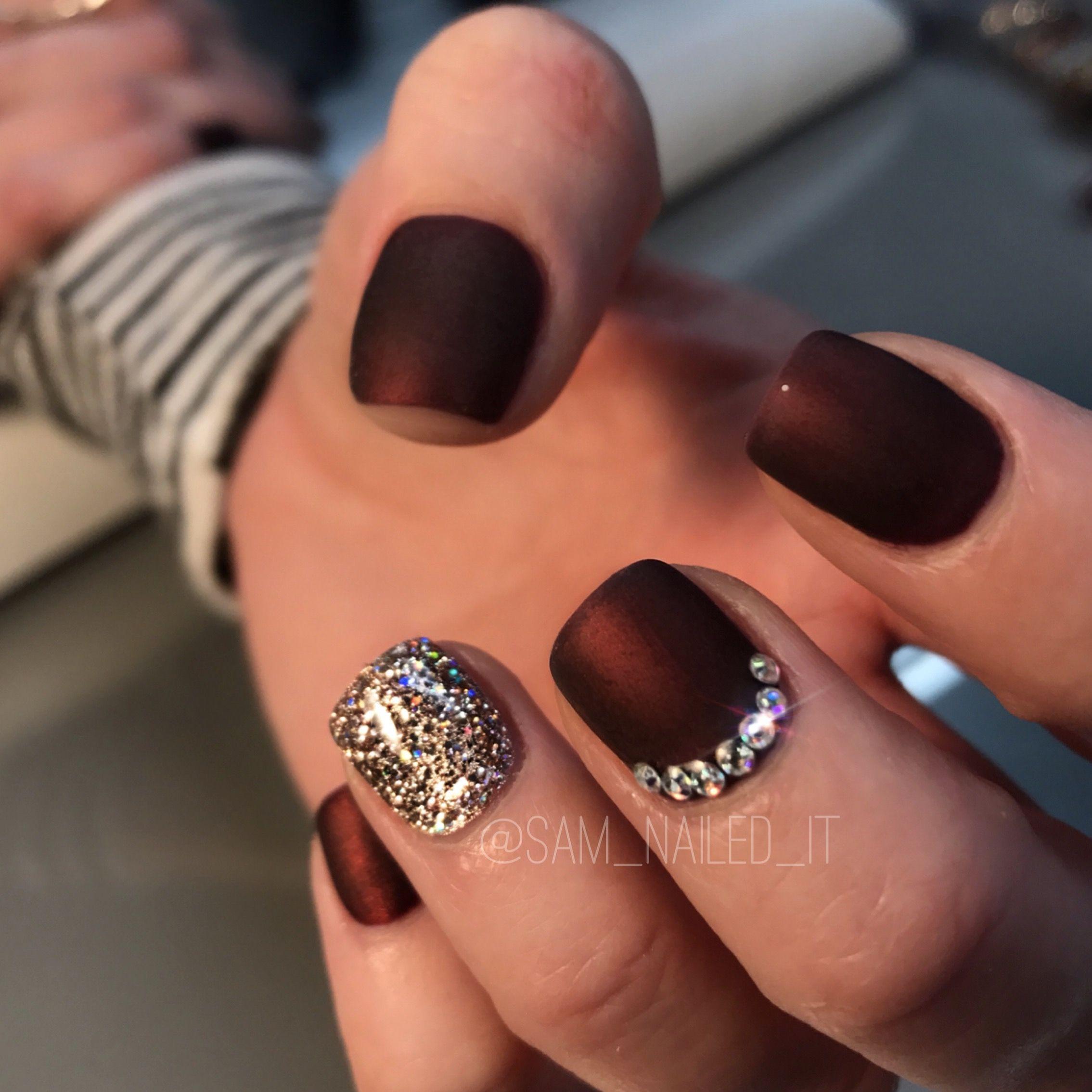 maroon nails matte nails glitter nails short nails rhinestone