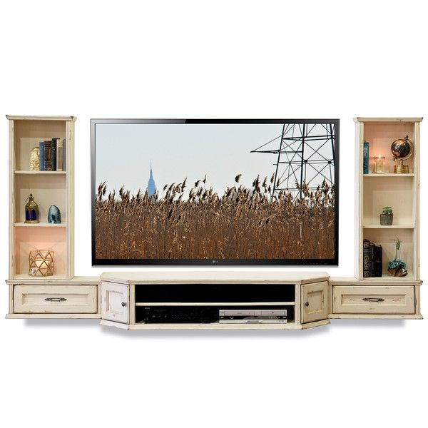 French Cottage Shabby Chic Floating Entertainment Center