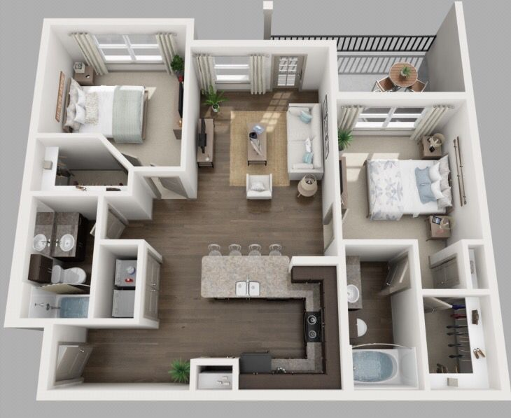 The Robin is Volar's beautiful 2 bedroom 2 bath, wood grained plank flooring, plush carpeting in bedrooms!