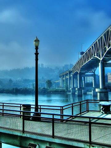 """Marquam Bridge, Portland, Oregon.    """"Portland is known as the 'city of bridges' for the nearly dozen bridges that cross over the banks of the Willamette River. This is the Marquam Bridge which is the busiest of the bunch, as it is where Interstate-5 crosses over the river."""""""