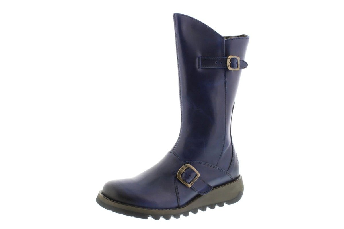 3430d1e54811 Fly London Mes 2 Rug Blue Leather Wedge Heel Calf Boots