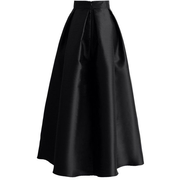 dfd155bcd Chicwish Bowknot Pleated Full Maxi Skirt in Black ($53) ❤ liked on Polyvore  featuring skirts, pleated skirt, floor length maxi skirt, chicwish skirt,  ...