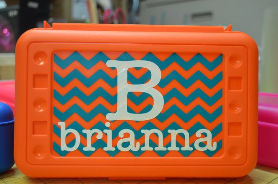 BACK TO SCHOOL Personalized Pencil/Art Box by VinylChatter on Etsy, $5.50